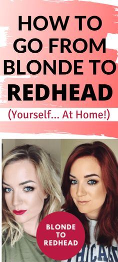 Blonde to Red Hair Using At Home Box Dye * Beauty by Phillippa- DIY Red Hair | Before and after going from blonde hair to redhead. How to go from blonde to redhead at home using a DIY box dye for a beautiful redhead transformation. Box Hair Dye, Box Dye, Dyed Red Hair, Pink Hair, Hair Color Auburn, Auburn Hair, Red Hair Color, Red To Blonde, Blonde Hair