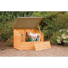 A handy garden chest which is ideal for smaller gardens. Its large opening lid and removable front panel provide easy access. A felted roof provides protection from the rain. Manufactured from dip treated shiplap timber. Small Storage, Storage Chest, Storage Boxes, Bike Storage, Storage Ideas, Buy Shed, Garden Tool Storage, Forest Garden, Gardens