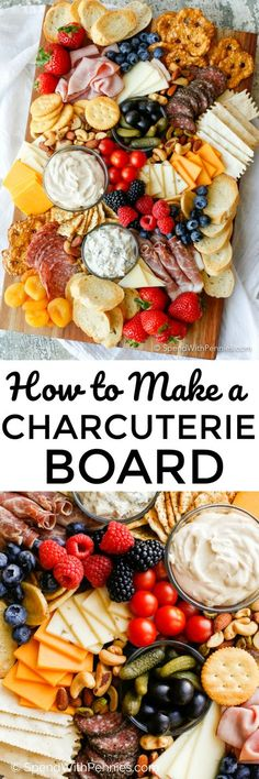 Learn how to make a Charcuterie board for a simple no-fuss party snack! Ameat and cheese board with simple everyday ingredients is an easy appetizer!