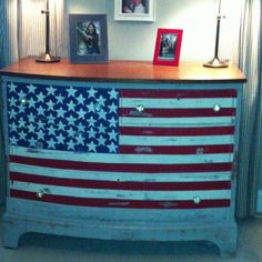 American Flag Painted On Dresser.
