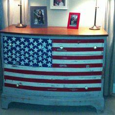 American flag painted on dresser.