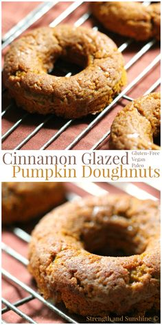 Cinnamon Glazed Pumpkin Doughnuts | Strength and Sunshine  Your morning coffee companion just got sweeter. Cinnamon Glazed Pumpkin Doughnuts, baked to perfection and loaded with pumpkin. Gluten-free, vegan, and paleo, the flavors of fall will keep everyone warm and cozy! Gluten Free Baking, Gluten Free Desserts, Dairy Free Recipes, Vegan Desserts, Vegan Recipes, Pumpkin Recipes, Fall Recipes, Pumpkin Pumpkin, Donut Recipes