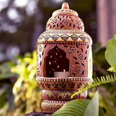Lalatena Terracotta Lantern ~ Hand-Crafted by artisans in India via www.worldmarket.com #CRAFTBYWORLDMARKET