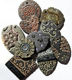 gorgeous clay pendants in black clay