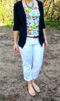 floral tank + navy boyfriend cardigan + white jeans