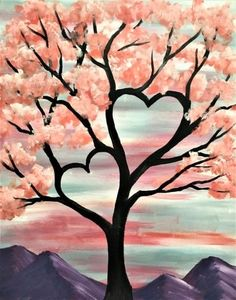 Valentine's Day Tree Easy Canvas Painting, Diy Canvas Art, Diy Painting, Painting & Drawing, Heart Painting, Tree Canvas, Easy Acrylic Paintings, Acrylic Painting Inspiration, Trippy Painting