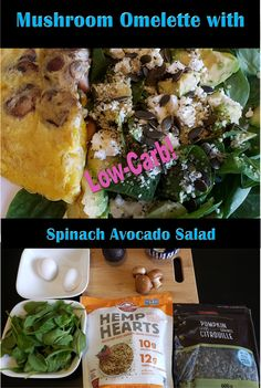 Mushroom Omelette with Spinach Avocado Salad Low Carb Breakfast, Healthy Breakfast Recipes, Mushroom Omelette, Stuffed Mushrooms, Stuffed Peppers, Avocado Salad, Health And Nutrition, Lchf, Low Carb Recipes