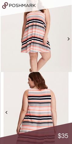 NWT torrid size 1 trapeze dress NWT torrid size 1 trapeze dress . This swingy trapeze dress is the definition of relaxed. The v-neck dresses up the look, but the warm-weather-ready multi-color striped knit is all about letting the good times flow. torrid Dresses