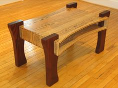 Coffee table built from reclaimed oak that has been cerused two different colors. Table is currently on display at the Bluegrass Green Co on Market Street.