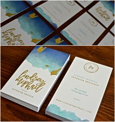 New Interior Design Business Cards with gold foil and watercolor logo.
