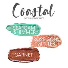 Coastal Eye Trio uses three SeneGence ShadowSense : LE Seafoam Shimmer, Rose Gold Glitter & Garnet Shimmer. These creme to powder eyeshadows will last ALL DAY on your eye. #shadowsense #trio #shadowsensetrio #eyeshadow #cocoa