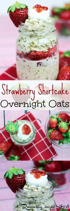 Healthy Strawberry Shortcake Overnight Oats recipe easy simple breakfast to make the night before With Greek yogurt almond milk and chia seeds Vegan Running in a Skirt Mason Jar Meals, Meals In A Jar, Breakfast Run, Breakfast Healthy, Breakfast Ideas, Healthy Strawberry Shortcake, Strawberry Breakfast, Strawberry Overnight Oats, Overnight Oatmeal