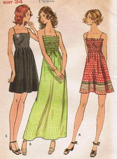 53fcb442d04 1970s Butterick 6627 Vintage Sewing Pattern Misses  Sun Dress Size 12 Bust  34