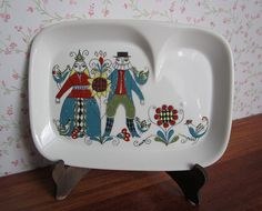 Vintage Figgjo Flint Saga Divided Plate Norway Turi Gramstad Oliver Design Scandinavian Mid Century Modern Nordic Kitchenware Tableware 70's