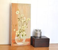Spring Oil Painting Floral Bouquet Fresh Cut Flowers in a Clear Vase. Pale Yellow Blossoms w/ Peach Apricot & Gray Background Tall Painting @TheVelvetBranch.Etsy.com #vintageart #oilpainting #floralart #springdecor #apricot #peach