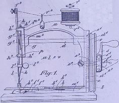 Ideal sewing machine The original patent drawings of 1910 with slight differences to how most machines look. Note the spool holder on top of the machine not behind.