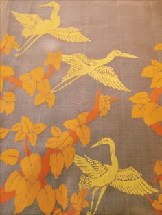 of the week, Crane which is also a symbol of love and prosperity and also a part of inspred from traditional culture! Embroidery Saree, Shirt Embroidery, Machine Embroidery, Textile Patterns, Embroidery Patterns, Print Patterns, Indian Textiles, Love Symbols, Fabric Painting