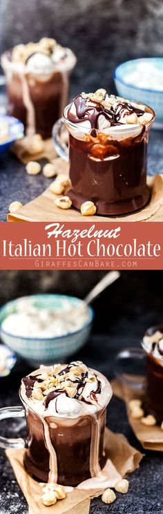 This Hazelnut Italian Hot Chocolate, or Cioccolata Calda alla Nocciola,  is a seriously indulgent thick hot chocolate recipe made with real chocolate, hazelnut liqueur and Nutella. #hotchocolate #nutella #chocolate #Italian via @giraffescanbake