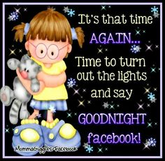 It's that time again... Time to turn out the lights and say good night facebook! #goodnight cartoon stars snowflakes girl cat