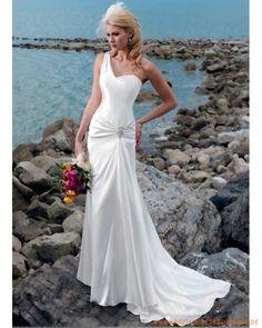 2013 klassisches Brautkleid aus Chiffonsatin für Strandhochzeit scheidenförmiger Rock mit Einschulterträger