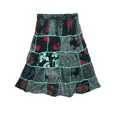 Mogulinterior Womens Gypsy Skirt Black Blue Floral Printed Patchwork Hippie Boho Mid Lenght Skirts