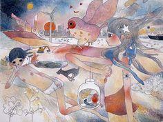 Aya TAKANO, 'Summoning her owls, she looked yonder. The buildings shone. Acrylic on canvas; x Feet / 194 x 259 cm 194 x 259 cm; Japanese Contemporary Art, Contemporary Artwork, Art Pop, Pretty Art, Cute Art, Art Inspo, Aya Takano, Bel Art, Superflat