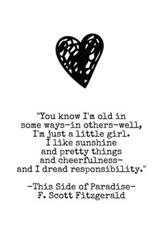 This Side of Paradise- I Dread Responsibility - Quotation Art Print - 5x7 - F Scott Fitzgerald