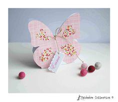 Boite à dragées papillon rose et liberty. mariage, baptême, fêtes...