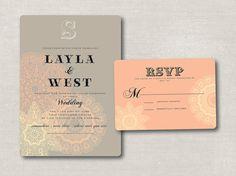 lacy    printable wedding invitation suite by antlerschandeliers, $75.00