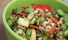 Edamame Energy Bowl Ingredients Salad     1 package TJ's Frozen Shelled Edamame, heated     1 cup TJ's Red Quinoa, cooked     2 TJ's Celery Ribs, sliced     1/4 cup TJ's Green Onions, chopped     1/2 cup TJ's Shredded Carrots     1 TJ's Gala Apple, diced     1 TJ's Avocado, sliced     1/3 cup TJ's Sliced Almonds Dressing     1 medium TJ's Lemon (Juice Only)     2 tablespoons TJ's Extra Virgin Olive Oil     2 medium cloves TJ's Garlic, minced (optional)     TJ's Salt & TJ's Pepper, to taste
