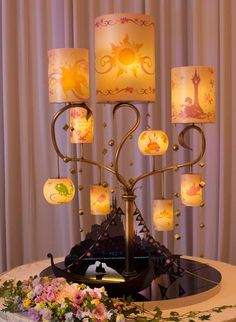 Happy Tangled Tuesday ☀️🌸 How beautiful is this Rapunzel lamp? And tower cake? And centerpieces? 😂 I love it all ❤️ article and photos… Tangled Wedding, Disney Inspired Wedding, Wedding Disney, Tangled Birthday, Disney Weddings, Disney Themed Party, Tangled Party, Cute Wedding Ideas, Wedding Themes