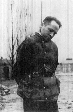 Rudolf Hoss, commandant of the Auschwitz concentration camp, moments after suffering a hanging death for his crimes in 1947.