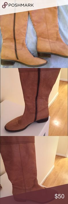 JCREW Tan Leather Boots Get set for fall with these tan leather boots by J. Crew!  They zip completely up the side for easy on and off.  Size 9.5.  I love them but they're just a tad too snug, so only worn a few times! J. Crew Shoes Heeled Boots