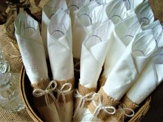 "Set of 25 Small Burlap Napkin Rings (Ideal for Disposable Silverware and Napkins) – With Option for ""No Bows"" - Brautparty Ideen Wedding Silverware, Wedding Napkins, Wedding Table, Silverware Place Setting, Wedding Ideas, Anniversary Decorations, 50th Wedding Anniversary, Anniversary Parties, Burlap Bows"