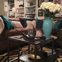 Living Roomchocolate Brown And Teal Living Room On Stunning
