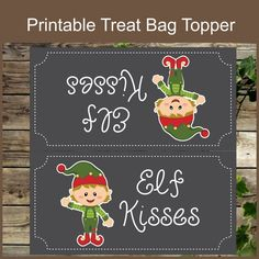 Elf kisses christmas treat bag topper christmas by isidesigns