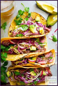 Maple Chipotle Flank Steak Tacos from www.healthyseasonalrecipes.com #maplelinkparty