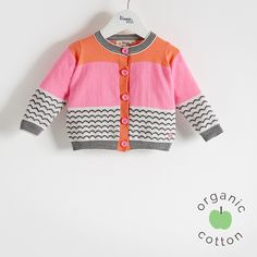 The Bonnie mob SS16 - The Life Aquatic.  GILL Organic Cotton Pink Baby and Girls Cardigan. A monochrome waves jaquard mixed with a bold colourblock make this lightweight 14 gauge knit cardigan a must for spring.