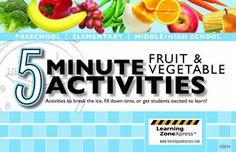 5 Minute Fruit & Vegetable Activities
