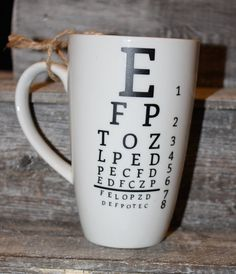 12 ounce White Mug  Eye chart unique gift by threepaintedarrows