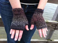 Mendocino Heel Stitch Fingerless Gloves - free glove pattern to knit - Crystal Palace Yarns