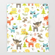 Check out Animal blanket, nursery Blanket, Woodland animals, Throw Blanket, Kids Blanket, Childrens Blanket, Fleece Blanket, Childs Blanket, Cute on peppermintcreek