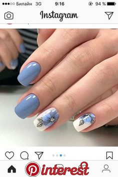 41 latest nail trends and designs 2019 039 41 latest nail trends and designs 2019 039 Latest Nail Designs, Nail Art Designs, Hot Nails, Hair And Nails, Gel Nagel Design, Nagellack Trends, Powder Nails, Nagel Gel, Blue Nails