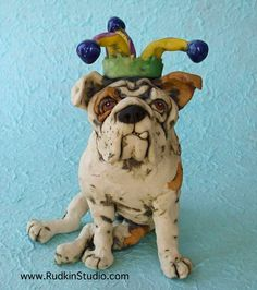 English Bulldog in Jester Hat Ceramic Pet Sculpture