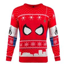 """Have yourself a webby little Christmas! Do you consider yourself a Spidey Claus or a Peter Parcel? A little comfier than your standard Spidey suit for chilling out over the holidays To paraphrase J. Jonah Jameson, """"Damn it, Parker, I want Xmas jumper Xmas Jumpers, Knitted Christmas Jumpers, Christmas Knitting, Harry Potter Christmas Sweater, Ugly Christmas Sweater, Ugly Sweater, Spiderman Costume, Xmas Wishes, Christmas Costumes"""