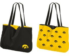 NCAA Iowa Hawkeyes Reversible Tote by Logo. $14.67. Functional and stylish, this universal tote is made of 100-Percent cotton and measures 19-Inch x 14-Inch. It is reversible with logos inside and out. Primary team color with a single primary team logo on one side and the secondary team color with repeating logo design on the other side.