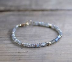 Labradorite Bracelet with Yellow or Rose Gold by EleriaJewelry