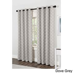 ATI Home Baroque Jacquard Grommet Top Curtain Panel Pair (Baroque Dove Grey  84 Inch
