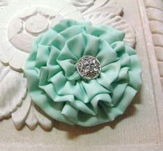 Mint Green Flower Hair Clip Pin and Hair Clip by fabulousfinds, 16.00