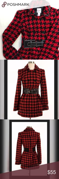 """CANDIES Red Houndstooth Coat with Belt Candie's.  Excellent used condition. Almost new!   Beautiful and cozy coat with belt in red and black houndstooth patterned design.   Machine washable.   Measurements:  Chest - 35""""  Length - 29""""   Material: 100% Acrylic   🚫No trades 